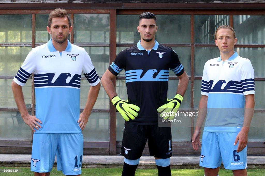 SS Lazio Players Lucas Leiva, Thomas Strakosha And Senad Lulic during SS Lazio new shirt unveiling on July 12, 2018 in Rome, Italy.