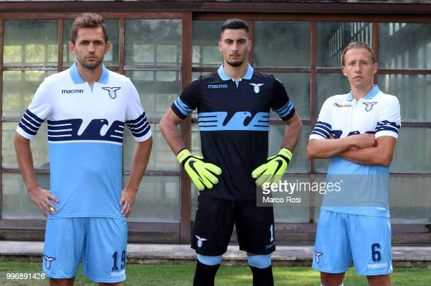 Lazio Players Lucas Leiva Thomas Strakosha And Senad Lulic during SS Lazio new shirt unveiling on July 12 2018 in Rome Italy