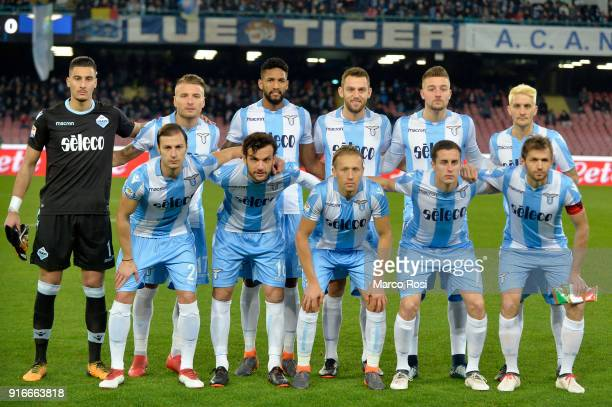 Lazio players pose a photo team before the serie A match between SSC Napoli and SS Lazio at Stadio San Paolo on February 10 2018 in Naples Italy