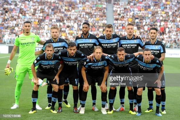 Lazio players pose a photo team during the serie A match between Juventus and SS Lazio on August 25 2018 in Turin Italy