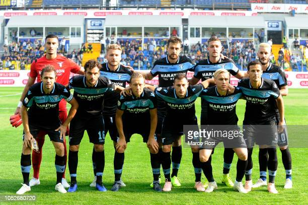 Lazio players pose a photo team during the Serie A match between Parma Calcio and SS Lazio at Stadio Ennio Tardini on October 21 2018 in Parma Italy