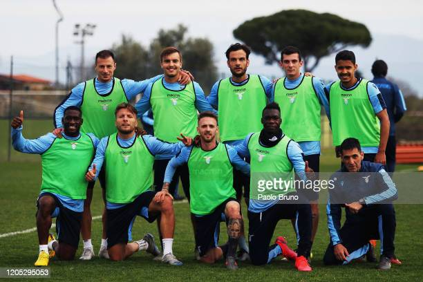 Lazio players pose during the SS Lazio training session at Formello sport centre on March 5, 2020 in Rome, Italy.