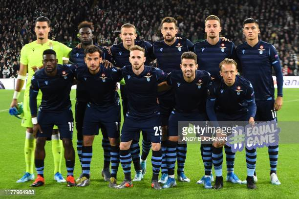 Lazio players pose for a team photograph ahead of the UEFA Europa League group E football match between Celtic and Lazio at Celtic Park stadium in...