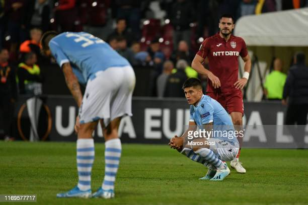 Lazio players react after the UEFA Europa League group E match between CFR Cluj and Lazio Roma at Dr.-Constantin-Radulescu-Stadium on September 19,...
