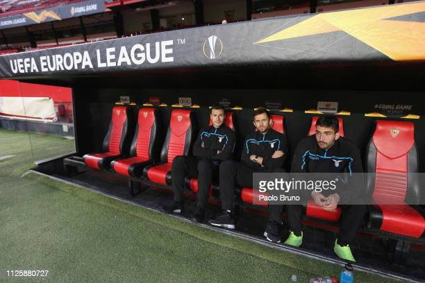SS Lazio players Stefan Radu Senad Lulic and Danilo Cataldi look on during the walkaround before the UEFA Europa League Round of 32 Second Leg match...