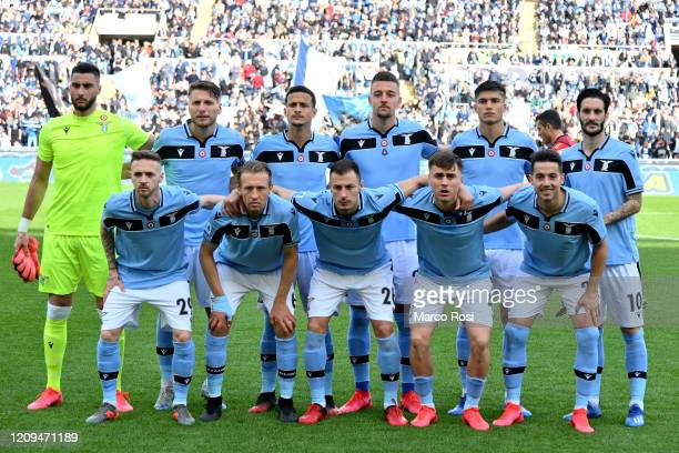 Lazio pose a photo team during the Serie A match between SS Lazio and Bologna FC at Stadio Olimpico on February 29, 2020 in Rome, Italy.