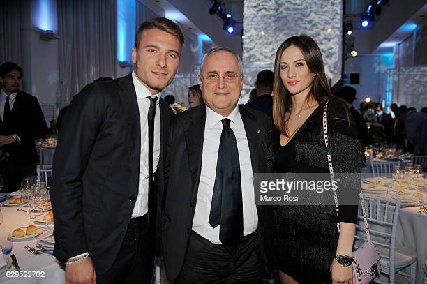 Lazio President Claudio Lotito and Ciro Immobile and wife during the SS Lazio Christmas Dinner on December 13 2016 in Rome Italy