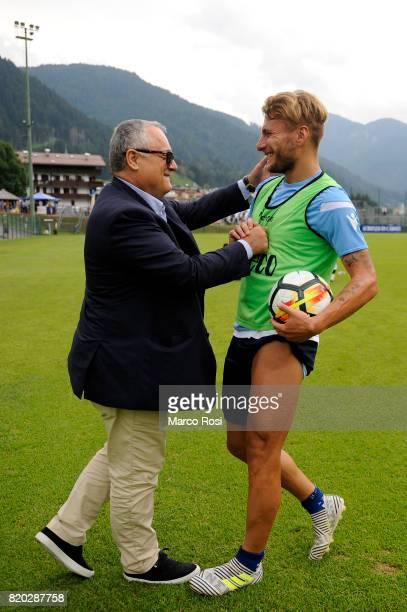 Lazio President Claudio Lotito and Ciro Immobile of SS Lazio during the SS Lazio PreSeason Training Camp on July 21 2017 in Pieve di Cadore Italy