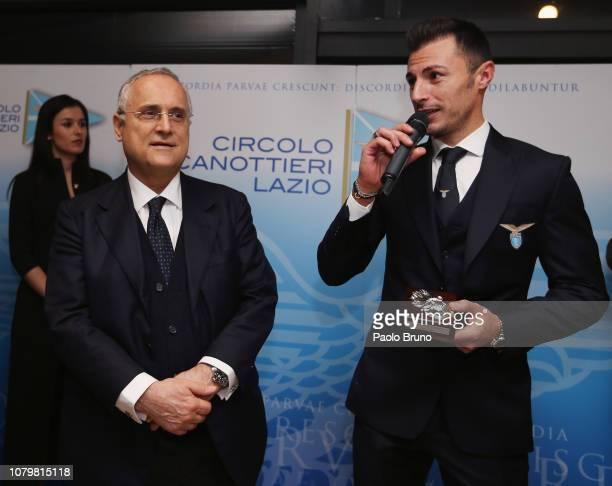 SS Lazio President Claudio Lotito and his player Stefan Radu attend the 'Luigi Bigiarelli' prize at Club Cannottieri Lazio on January 9 2019 in Rome...