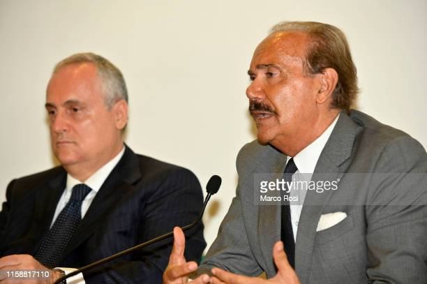 Lazio President Claudio Lotito and Mauro Masi President of Igea Bank during a SS Lazio press conference for the launch of the post career education...