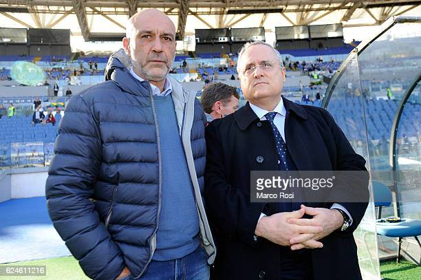 Lazio President Claudio Lotito and Mejor of Amatrice Sergio Pirozzi before the Serie A match between SS Lazio and Genoa CFC at Stadio Olimpico on...