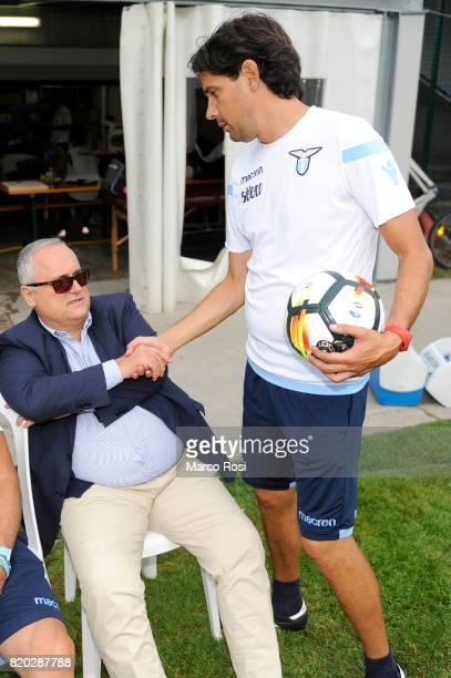 Lazio President Claudio Lotito and SS Lazio head coach Siomenie Inzaghi during the SS Lazio PreSeason Training Camp on July 21 2017 in Pieve di...