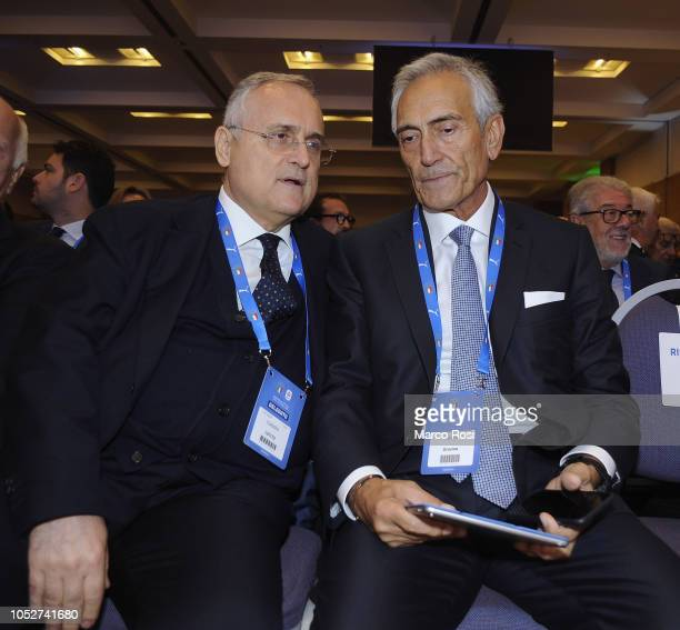 SS Lazio President Claudio Lotito and the FIGC New President Gabriele Gravina attend the Italian Football Federation elective assembly on October 22...