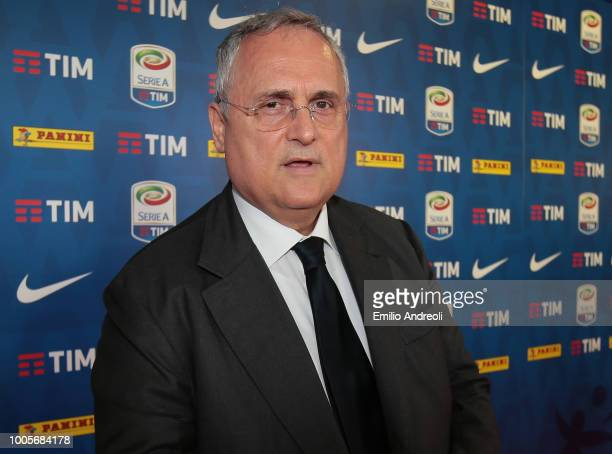 Lazio President Claudio Lotito attends the Serie A 2018/19 Fixture unveiling on July 26 2018 in Milan Italy