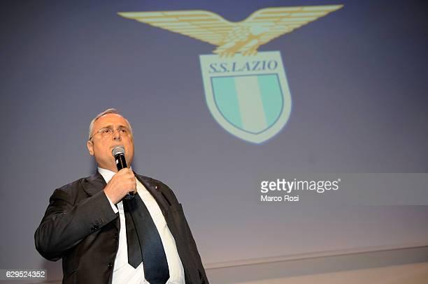 Lazio President Claudio Lotito during SS Lazio Christmas Dinner on December 13 2016 in Rome Italy