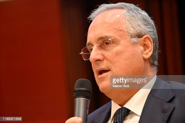 Lazio President Claudio Lotito during the SS Lazio press conference on at the Hotel Eden September 1 2019 in Rome Italy