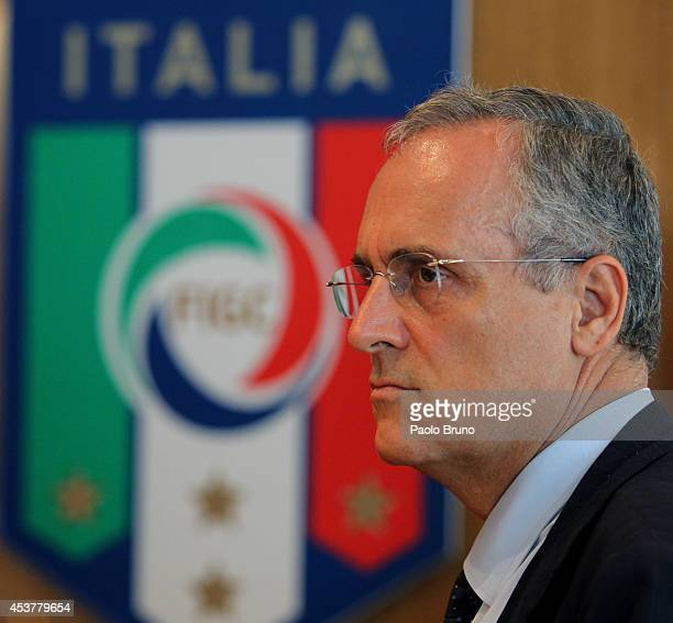 Lazio President Claudio Lotito looks on during the press conference after the Federal Council of the Italian Football Federation meeting on August 18...