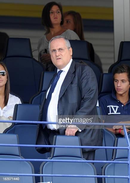 Lazio president Claudio Lotito looks on during the Serie A match between AC Chievo Verona and SS Lazio at Stadio Marc'Antonio Bentegodi on September...
