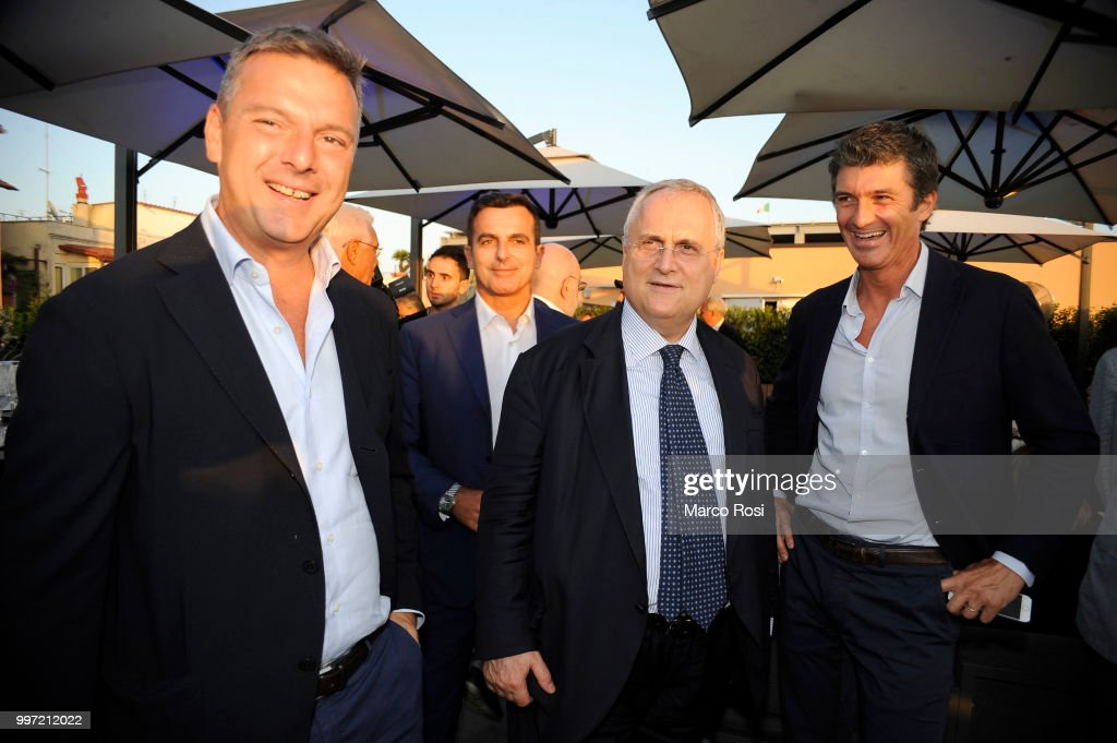 SS Lazio President Claudio Lotito, President of la Rinascente Pierluigi Cocchini and President of Macron Pierluigi Tavanello of SS Lazio attend the SS Lazio unveil new shirt for 2018-19 Season on July 12, 2018 in Rome, Italy.