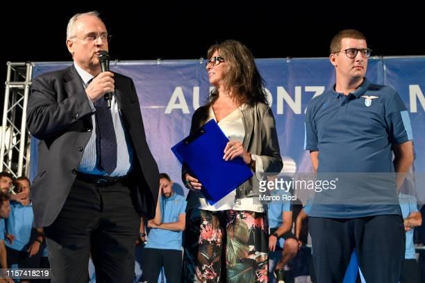Lazio President Claudio Lotito with son Enrico during the SS Lazio team presentation on July 23 2019 in Auronzo di Cadore Italy