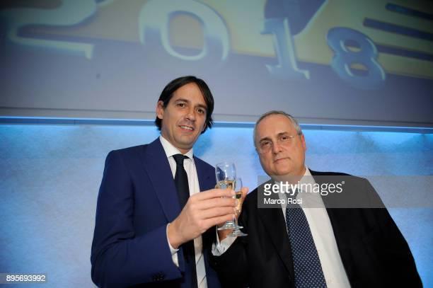 Lazio Presidenti Claudio Lotito and SS Lazio head coach Simone Inzaghi pose during the SS Lazio Christmas Party on December 19 2017 in Rome Italy