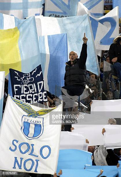 Lazio Rome's fan from the Curva Nord encourages his team before the Italian first league derby Lazio RomeAS Roma at the Rome's Olympic Stadium 10...