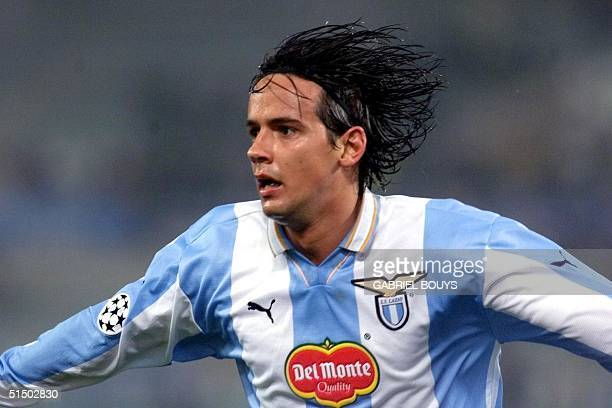 Lazio Rome's forward Simone Inzaghi jubilates after scoring a goal during the Champion's League Group D game Lazio Rome vs Olympique de Marseille 14...