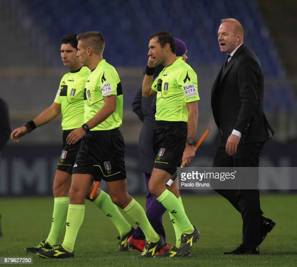 Lazio Sport Director Igli Tare react with the referee Davide Massa during the Serie A match between SS Lazio and ACF Fiorentina at Stadio Olimpico on...