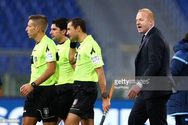 Lazio sport director Igli Tare reclaiming with the referee Massa a the end of the match during the Italian Serie A football match Lazio vs Fiorentina...
