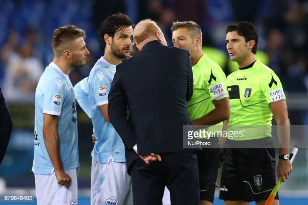 Lazio sport director Igli Tare with the players reclaiming with the referee Massa a the end of the match during the Italian Serie A football match...
