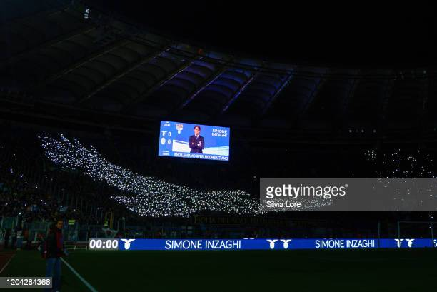 Lazio supporters before the Serie A match between SS Lazio and Hellas Verona at Stadio Olimpico on February 5 2020 in Rome Italy