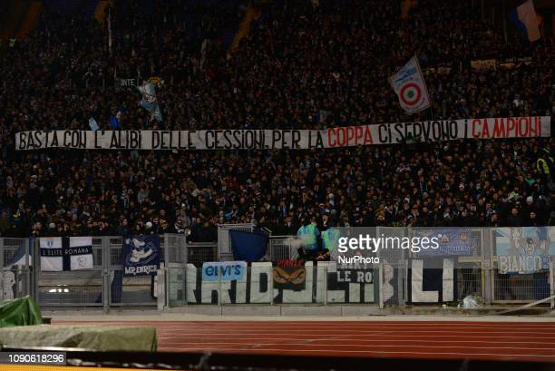 SS Lazio supporters Curva Nord during the Italian Serie A football match between SS Lazio and FC Juventus at the Olympic Stadium in Rome on january...