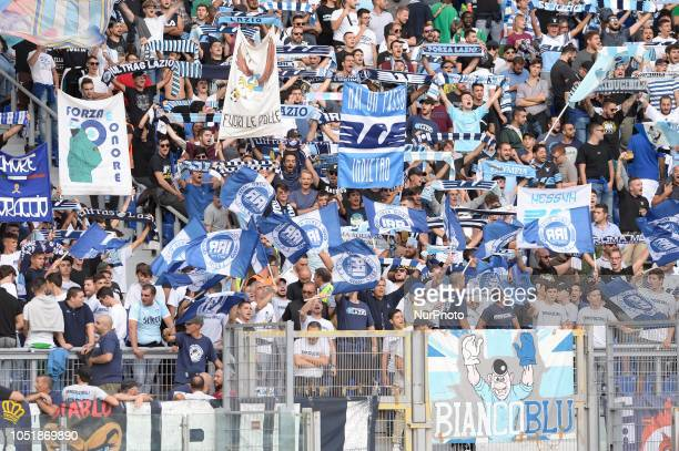 SS Lazio supporters during the Italian Serie A football match between SS Lazio and Fiorentina at the Olympic Stadium in Rome on october 07 2018