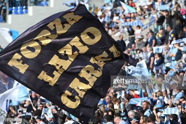 SS Lazio supporters during the Italian Serie A football match between SS Lazio and Parma at the Olympic Stadium in Rome on march 17 2019