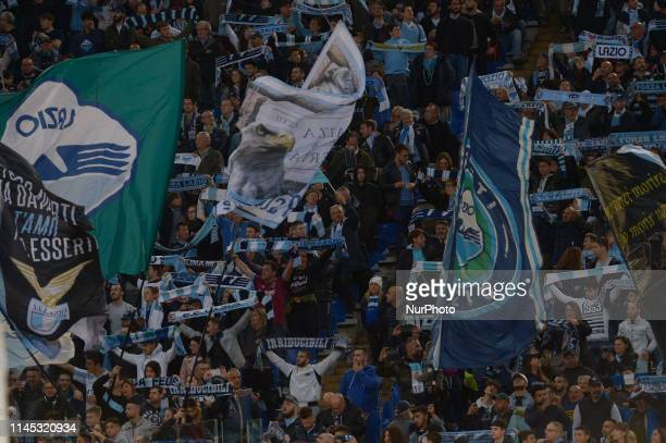 SS Lazio supporters during the Italian Serie A football match between SS Lazio and Bologna at the Olympic Stadium in Rome on may 20 2019