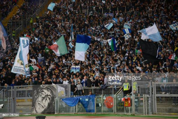 SS Lazio supporters during the Italian Serie A football match between SS Lazio and Cagliari at the Olympic Stadium in Rome on october 22 2017