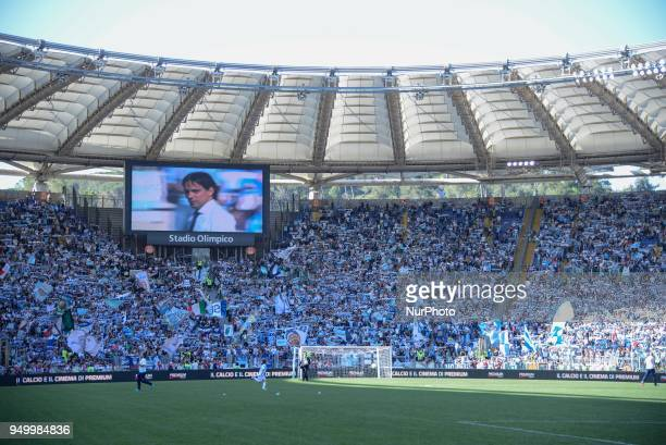 SS Lazio supporters during the Italian Serie A football match between SS Lazio and US Sampdoria at the Olympic Stadium in Rome on april 22 2018