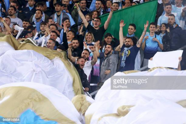 Lazio supporters during the serie A match between SS Lazio and AS Roma at Stadio Olimpico on April 15 2018 in Rome Italy