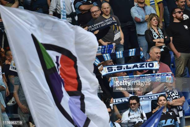 Lazio supporters of Curva Nord cheer on ahead of the Serie A football match between SS Lazio and Atalanta BC Lazio and Atalanta draw 33