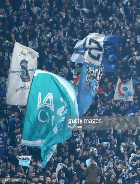 Lazio supporters of Curva Nord during the Serie A match SS Lazio v Fc Juventus at the Olimpico Stadium in Rome Italy on December 7 2019