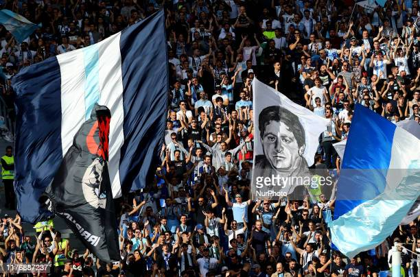 Lazio supporters of Curva Nord during the Serie A match SS Lazio v Atalanta at the Olimpico Stadium in Rome Italy on October 19 2019