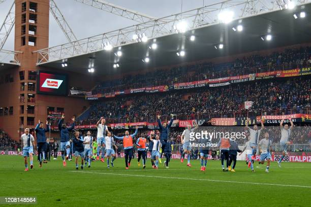 Lazio team celebrate a winning after the Serie A match between Genoa CFC and SS Lazio at Stadio Luigi Ferraris on February 23 2020 in Genoa Italy
