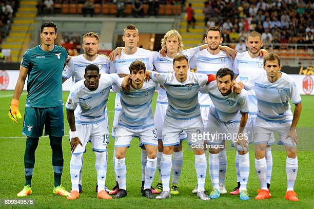 Lazio team lines up before the Serie A match between AC Milan and SS Lazio at Stadio Giuseppe Meazza on September 20 2016 in Milan Italy