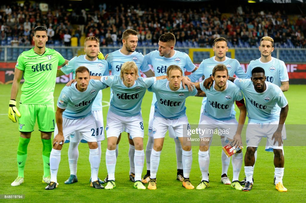 Lazio team posed a photo before the Serie A match between Genoa CFC and SS Lazio at Stadio Luigi Ferraris on September 17, 2017 in Genoa, Italy.