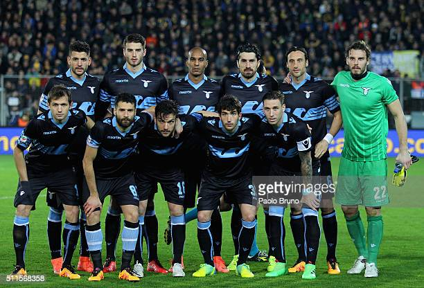 Lazio team poses during the Serie A match Frosinone Calcio and SS Lazio at Stadio Matusa on February 21 2016 in Frosinone Italy