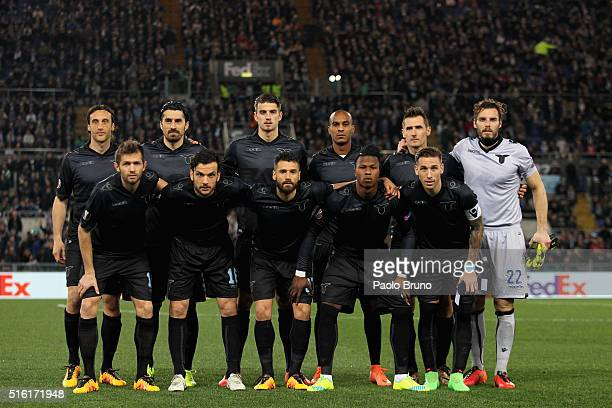 Lazio team poses during the UEFA Europa League Round of 16 second leg match between SS Lazio and Sparta Prague at Stadio Olimpico on March 17 2016 in...