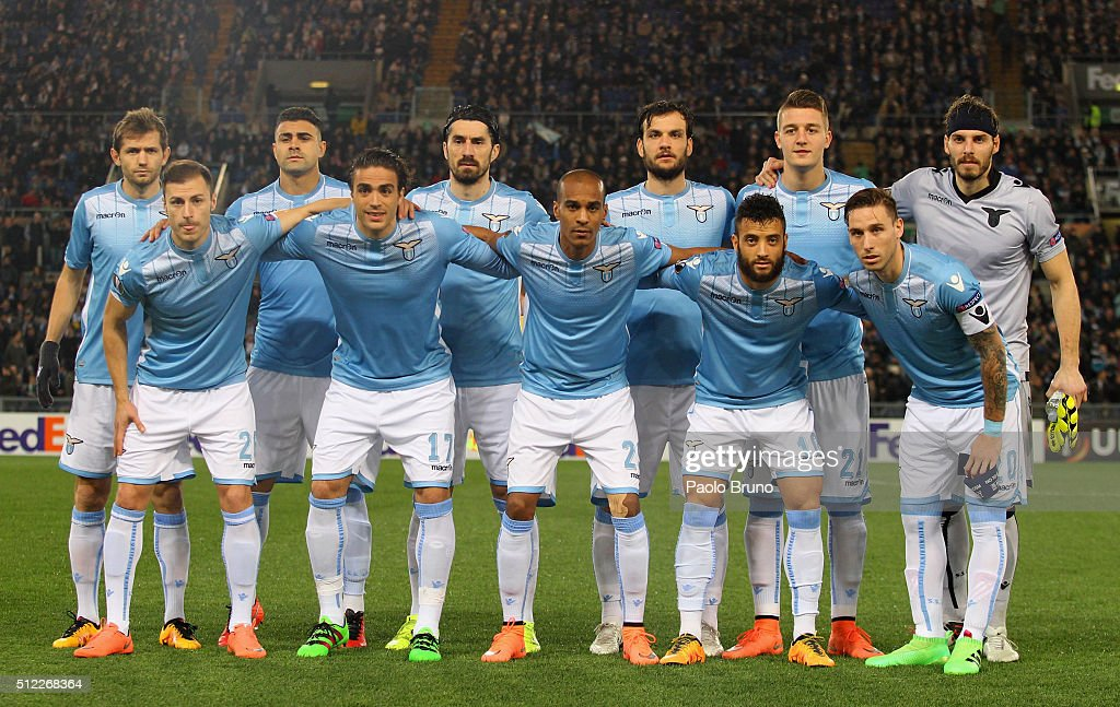 SS Lazio team poses during the UEFA Europa League Round of 32 second leg match between Lazio and Galatasaray on February 25, 2016 in Rome, Italy.