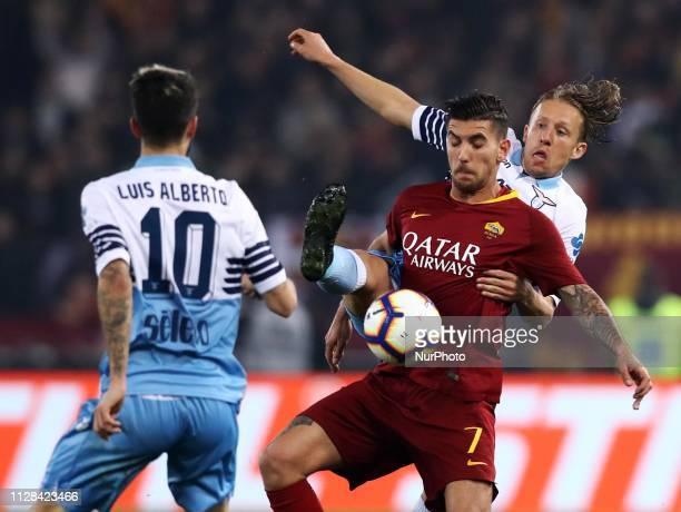 Serie A Lucas Leiva of Lazio and Lorenzo Pellegrini of Roma at Olimpico Stadium in Rome Italy on March 2 2019