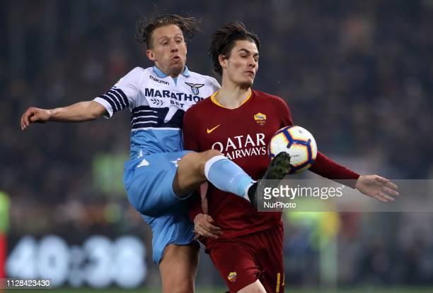 Serie A Lucas Leiva of Lazio and Patrik Schick of Roma at Olimpico Stadium in Rome Italy on March 2 2019