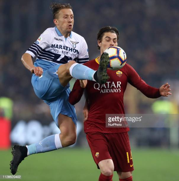 Serie A Lucas Leiva of Lazio and Patrik Schick of Roma at Olimpico Stadium in Rome, Italy on March 2, 2019.